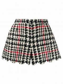 Red Valentino houndstooth scalloped hem shorts