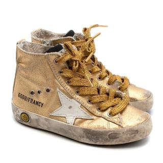 Golden Goose Kids Gold Metallic High-top Trainers