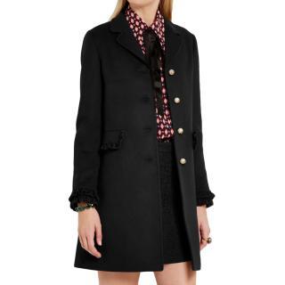 Gucci Black Ruffle-trimmed wool coat