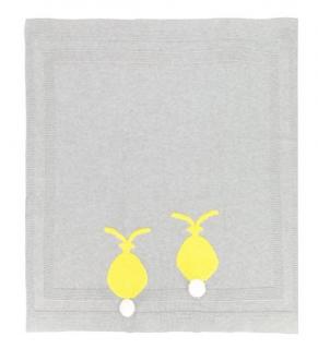 Stella McCartney Kids Grey Bunny Pom Pom Blanket