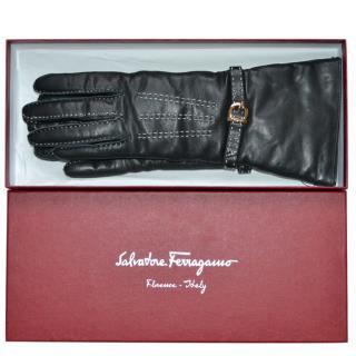 Salvatore Ferragamo Cashmere Lined Leather Gloves