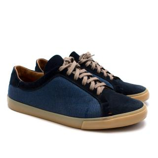 Loro Piana Suede & Canvas Navy Trainers