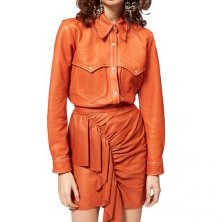 Isabel Marant Leather Cognac Press-Stud Western Shirt