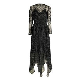 Maje Black Sheer Embroidered Handkerchief Midi Dress