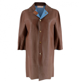 Marni Brown Leather Button-Down Boxy Lightweight Jacket