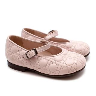Dior Cannage Lambskin Baby Pink Toddler Shoes