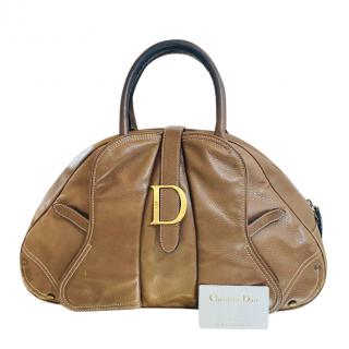 Christian Dior brown leather bowling bag