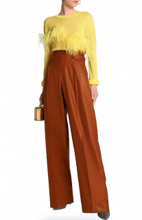 Marco de Vincenzo Ruched wool-crepe wide-leg pants