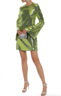 Galvan London Galaxy Sequined Mesh Mini Dress in Lime Green