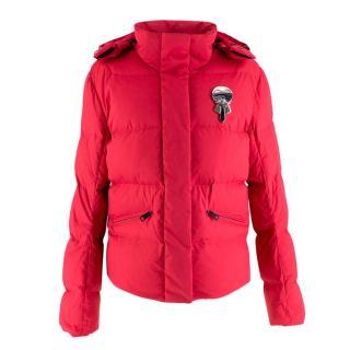Fendi Ski Karl Loves' Embroidered Red Puffer Jacket