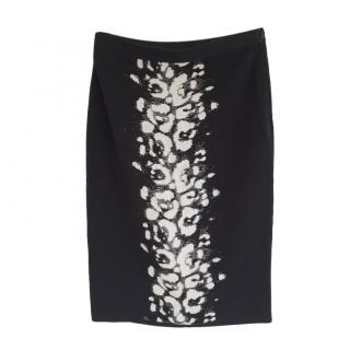 Giambattista Valli black patterned stretch knit skirt