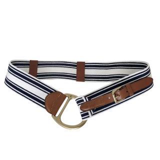Ralph Lauren navy stripe cotton & brown leather belt