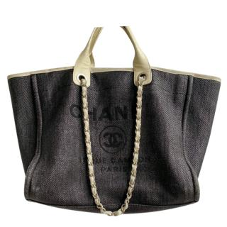 Chanel Deauville grey canvas & calfskin large tote bag