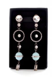Miu Miu silvertone crystal & enamel clip on earrings