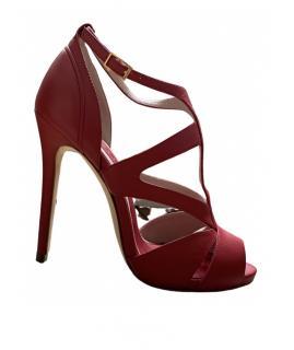 Elie Saab red leather heeled sandals