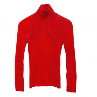 M Missoni red wool turtleneck knitted top
