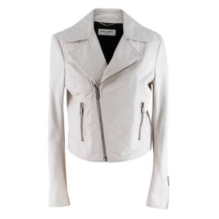 Saint Laurent Soft Lambskin Off-White Biker Jacket