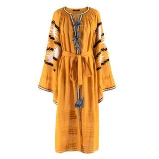 Vita Kin Golden Orange Linen Embroidered Belted Midi Dress