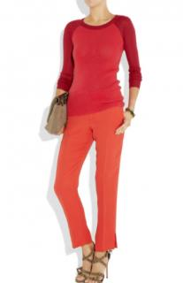 Joseph Kong red cropped silk straight fit trousers