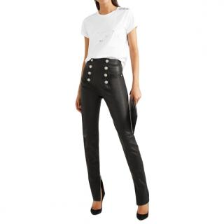 Balmain Button-embellished Leather Skinny Pants In Black