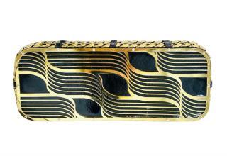 Lara Bohinc Tatjana black patent leather & gold tone clutch bag