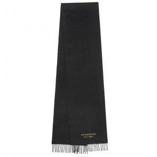 Burberry limited edition black logo cashmere fringe scarf