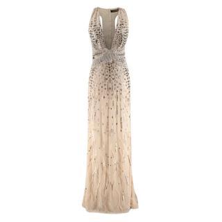 Roberto Cavalli Beige Silk Embellished Feathered Gown