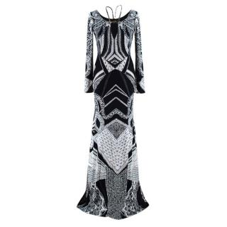 Roberto Cavalli Monochrome Printed Embellished Gown
