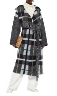 Stella McCartney Fringe Checked Mohair & Wool Blend Wrap Coat