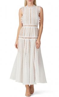 Self Portrait White Lace Panel Midi Dress