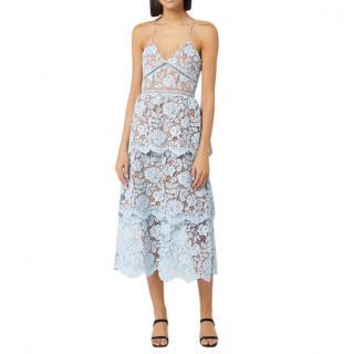 Self-Portrait Women's Flower Lace Midi Tiered Dress