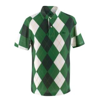 Chemise Lacoste Luxe Green Argyle Print Cotton Polo