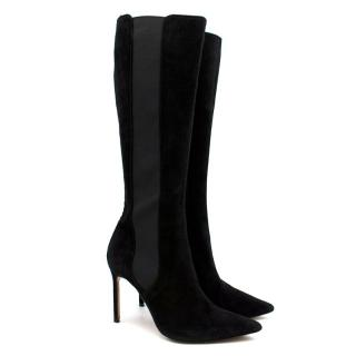 Manolo Blahnik Black Suede Stiletto Boots