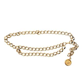 Chanel Gold Tone Medallion Chain Belt