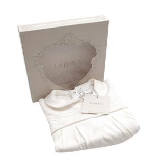 La Perla Ivory Soft Cotton Embroidered Baby Grow