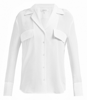 Frame White Silk V-Neck Shirt