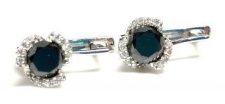 Bespoke 14ct white gold & black diamond earrings