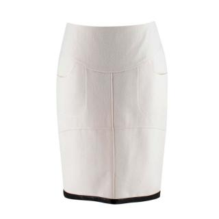 Tom Ford Beige Wool Leather Trim Pencil Skirt
