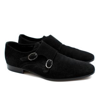 Ferragamo Mens Suede Double Monk Strap Shoes