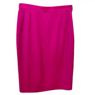 Yves Saint Laurent pink wool knee-length pencil skirt