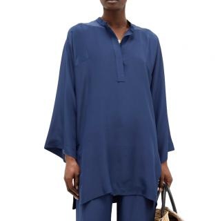 Three Graces Indigo Blue Silk Tunic
