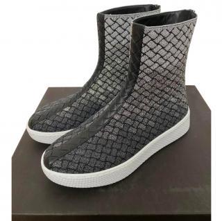 Bottega Veneta Helium silver intrecciato knit sneakers