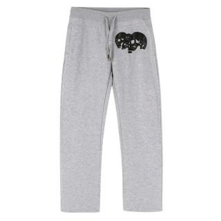 Philipp Plein Homme Grey Leather Patch Joggers