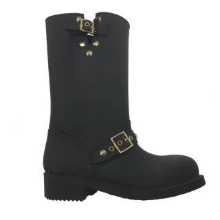 Trussardi Jeans matte black buckle detail wellington boots