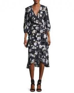Alice + Olivia Kye floral printed frill dress