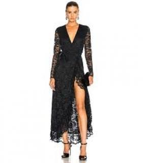 Ganni lace black maxi dress