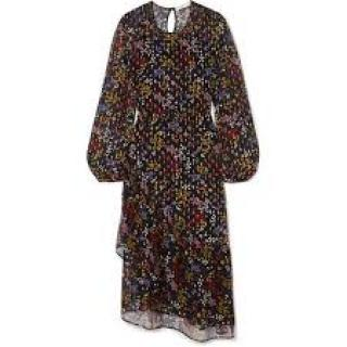 See By Chloe black floral silk midi dress
