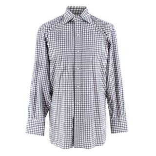 Tom Ford Grey and White Cotton Gingham Shirt