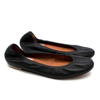 Lanvin Black Leather Stretch Ballerinas