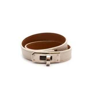 Hermes Craie Epsom Leather Kelly Double Tour Bracelet PHW